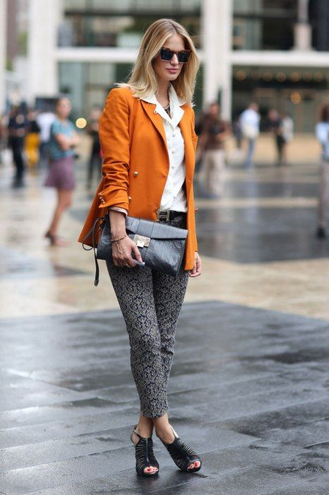 (more print jeans - looks great with this apricot double-breasted blazer, clutch. great shoes) Best-Dressed Street Style at New York's Fashion Week | Vanity Fair