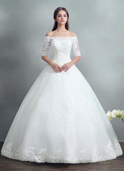 Prinzessin Spitze Hochzeitskleid Perlen Maxi ...
