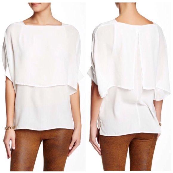 """White blouse. Square neck• Short sleeve• Draped construction.(26"""" length) Dantelle Tops"""