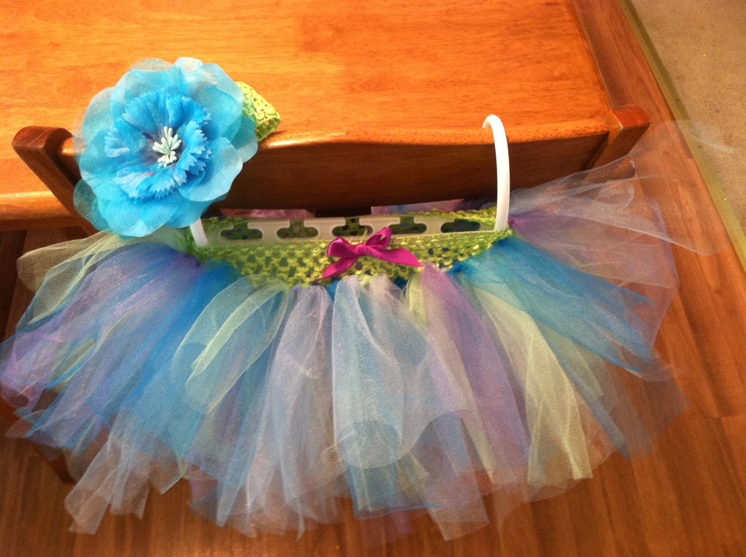 Baby multicolored tutu and headband with flower  THINGS I CREATED