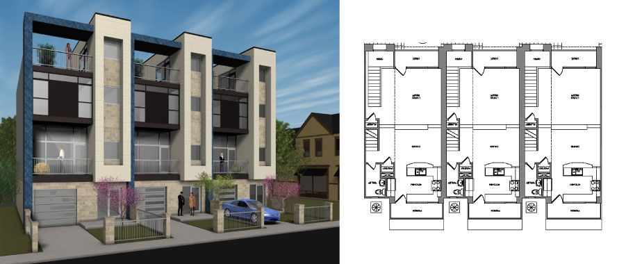 Townhouse exterior design thurman townhomes designed for Townhouse exterior design