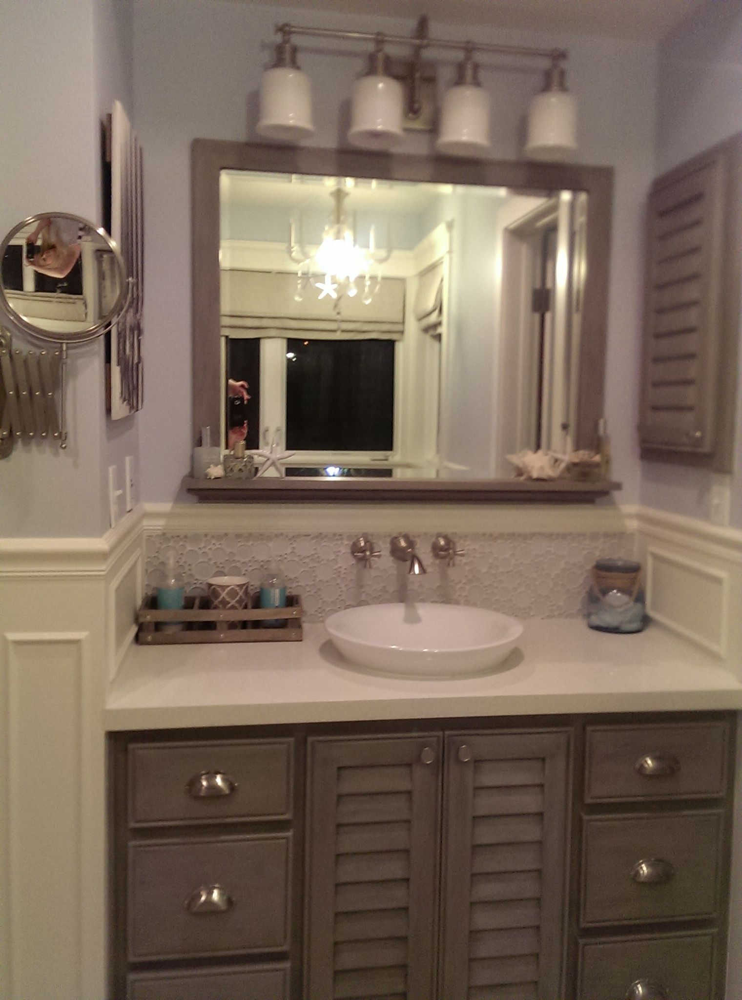 Bathroom Vanity In Driftwood Stain 2 Colors Of Chalk Paint Custom Ledge Mirror Newport Brass Wall Mount Fixtures Matte A Room Tiles Bathroom Decor Bathroom