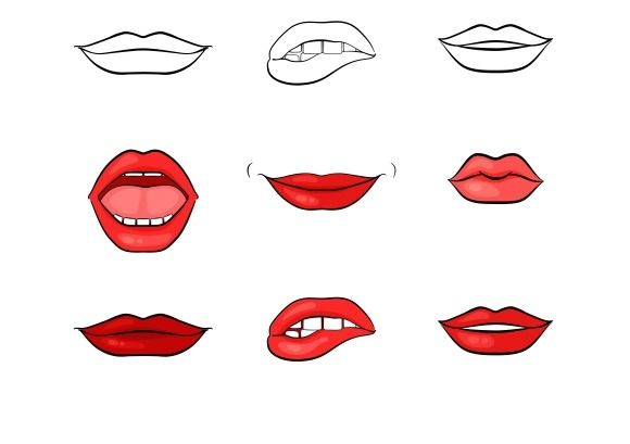 Vector Woman Lips And Mouth By Microvector On Creative Market