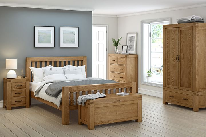 The Sheldon range of bedroom furniture is hand crafted medium oak furniture with it's main design feature being extra chunky tops as well as an extra large exposed Tenon joint, which gets it's design inspiration from traditional oak beams, which emphasizes this collections solid and sturdy character.