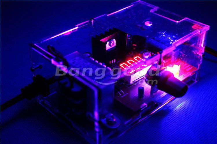 US Plug 110V DIY LM317 Adjustable Voltage Power Supply Board Kit With Case Sale-Banggood.com