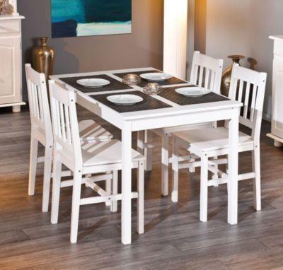 Esstisch mit vier Stühlen Kiefer massiv weiss lackiert Jetzt