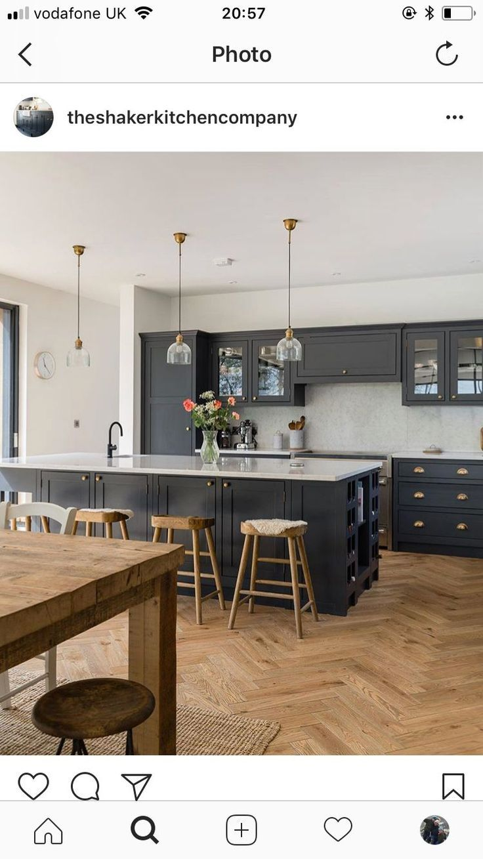 Modern Farmhouse Kitchen with Black Cabinets, herringbone wood ...