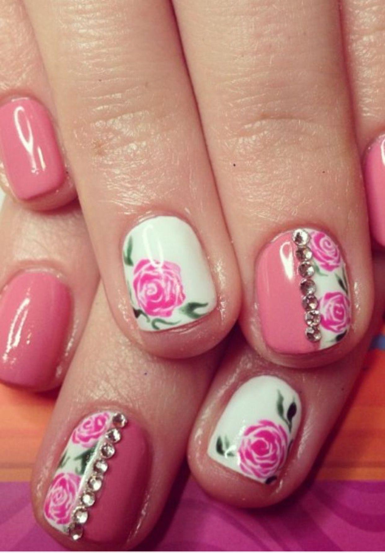 Pin Adăugat De Turda Andreea Pe Unghii Flower Nail Designs Rose