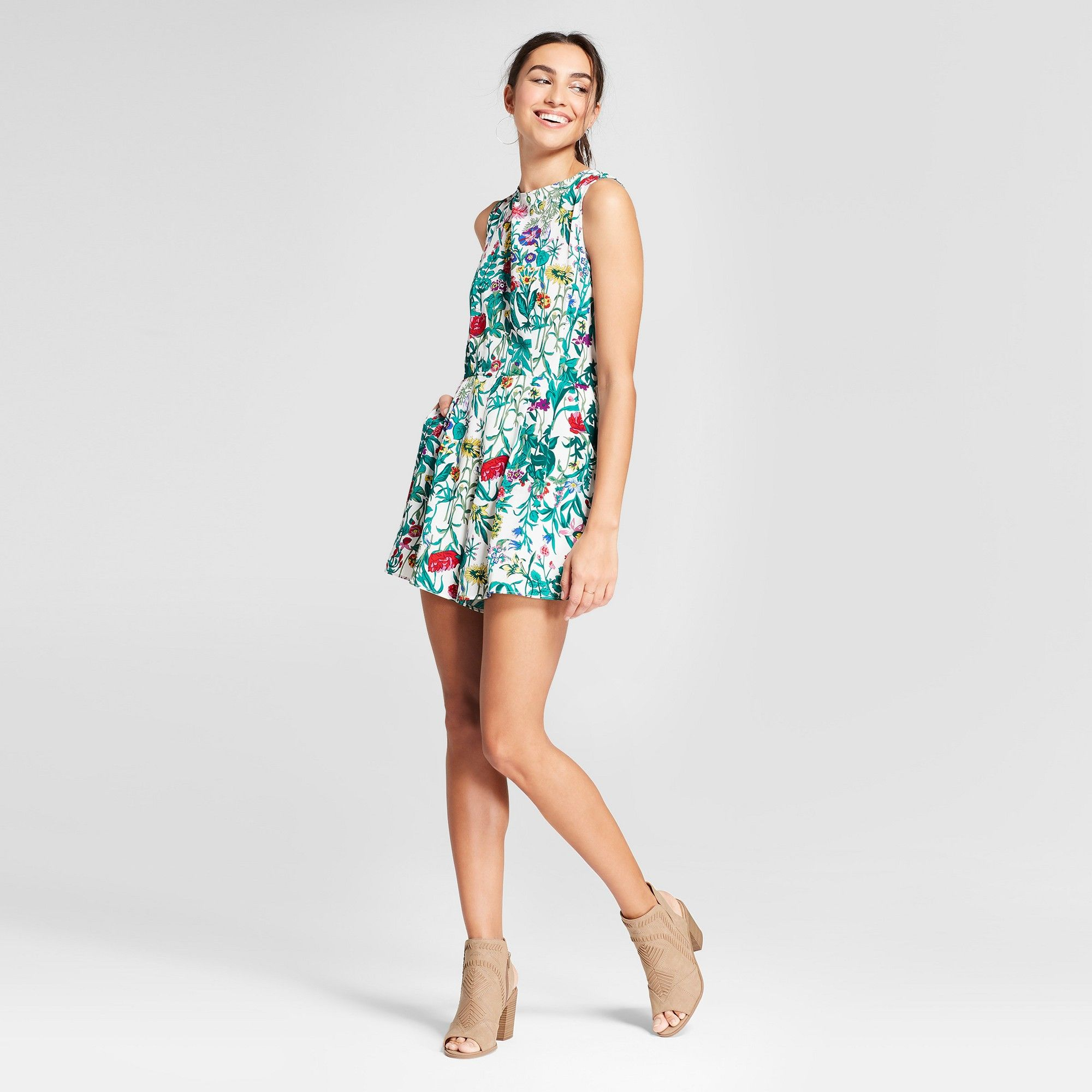 Womenus deep v back floral romper k by kersh whitegreen xs products