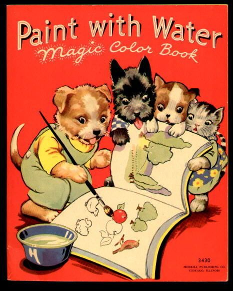 Paint With Water Magic Color Book Merrill 1937 Ebay Coloring Books Vintage Coloring Books Books