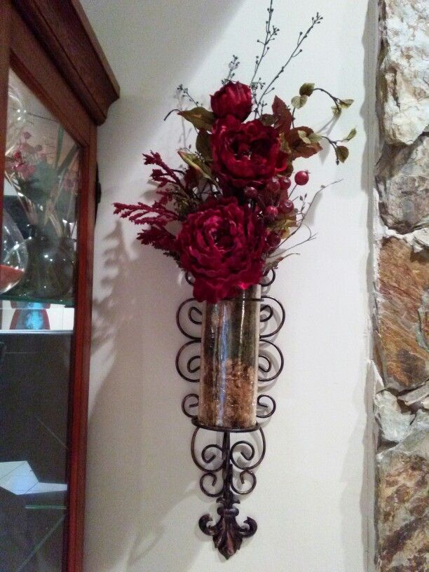 Sconces from Kirkland's. Flowers from Hobby Lobby. Two of ... on Sconces Wall Decor Hobby Lobby id=40421