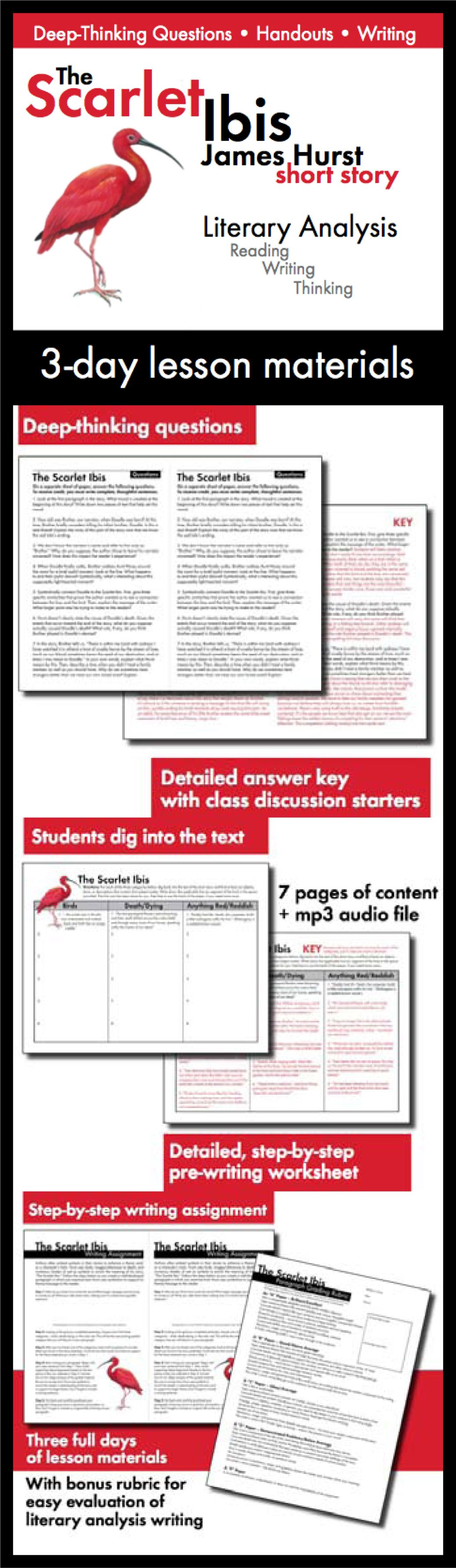 Scarlet ibis james hurst 3 day lesson lit analysis writing scarlet ibis james hurst 3 day lesson lit analysis writing tasks ccss biocorpaavc