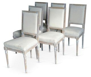 Set Of Six Gustavian Style Dining Chairs Constructed Of Nordic Pine And  Washed Down To Their Original Painted Distressed Patina. Square Seat Backs,  Fluted.