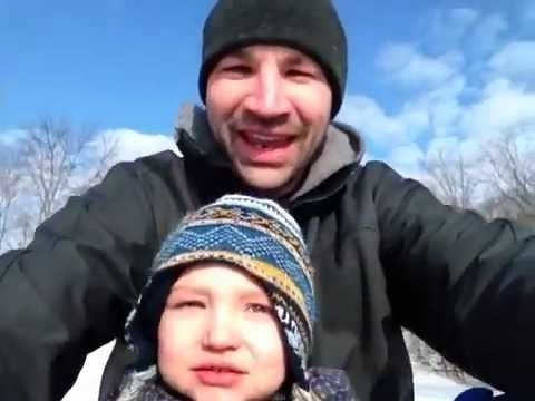 Isaiah and I going sledding for the 1st time!