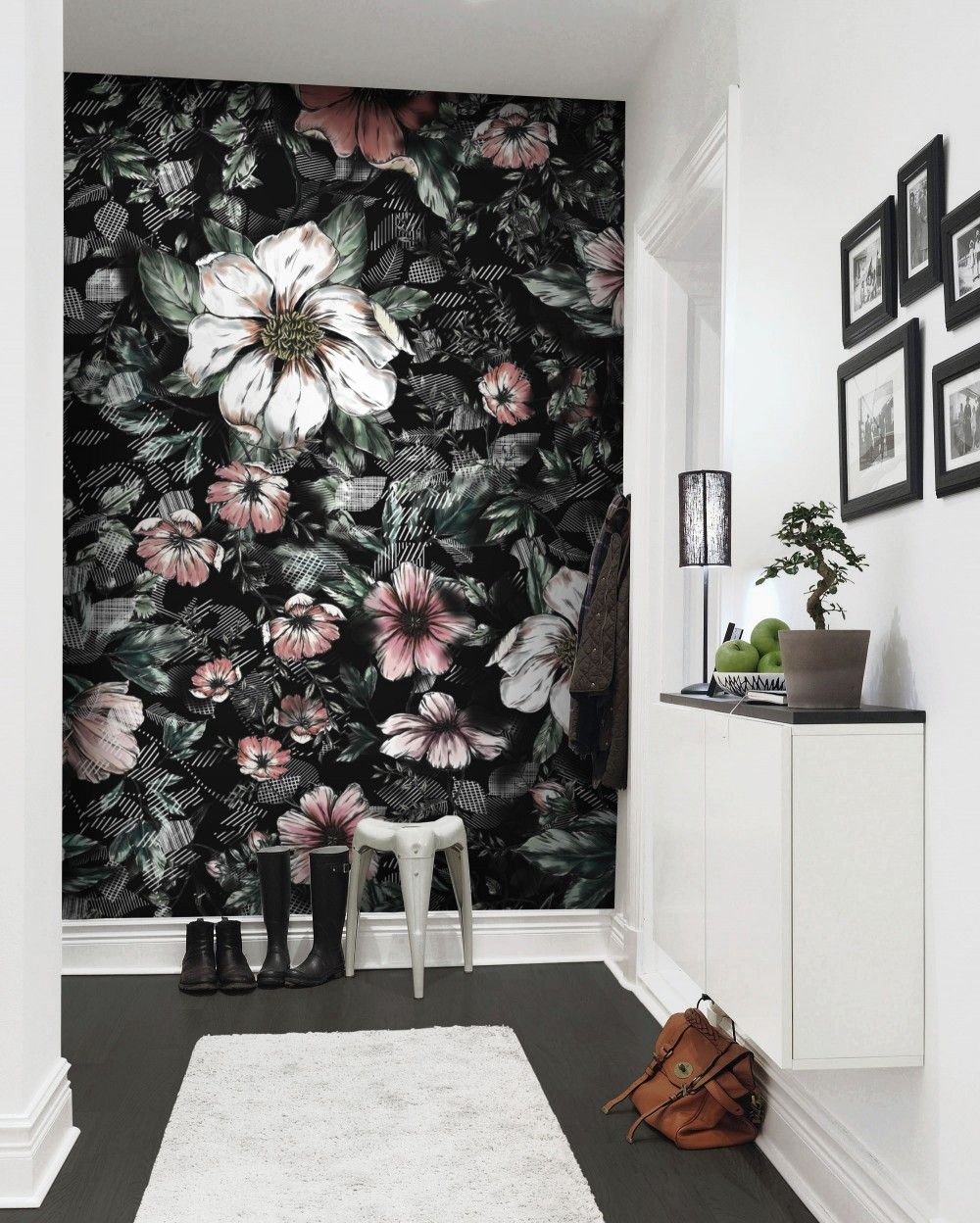 Dark Floral With White Daisy Wallpaper Mural In 2020 Daisy