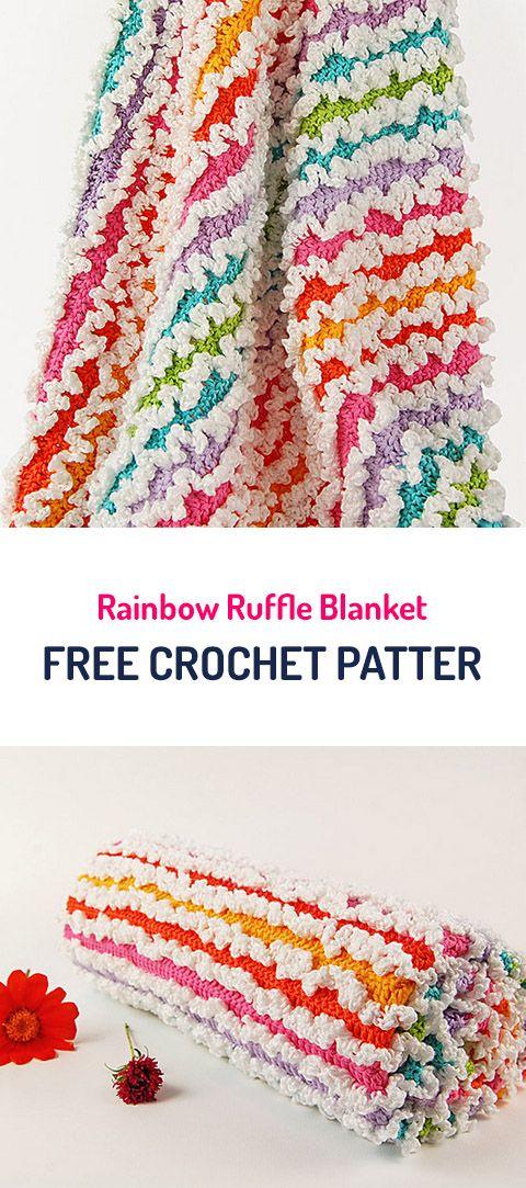 Rainbow Ruffle Blanket Free Crochet Pattern #crochet #crocheting ...