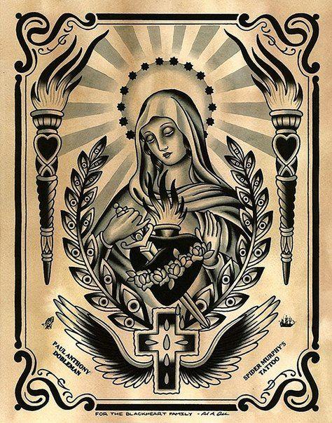 Tattoo Flash Art Black And White Guitar: Mary Tattoo, Virgin Mary