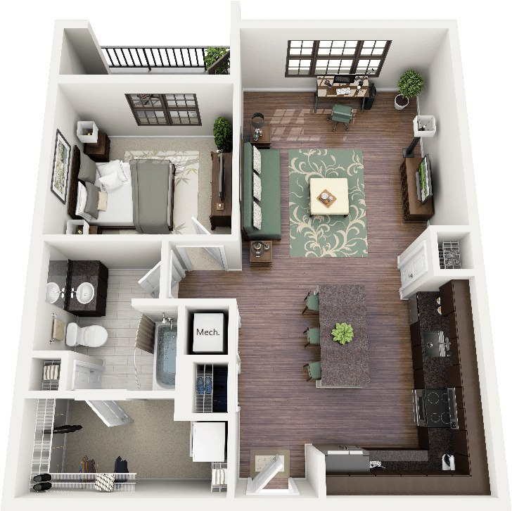 3D 2 bedroom apartment floor plans | Floor Plans - One Bedroom-- I love  this apartment layout!!!