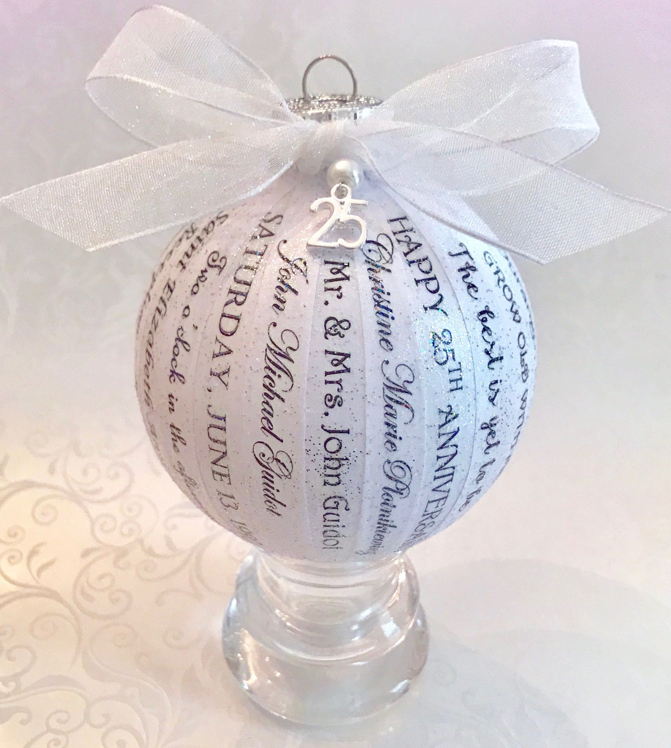 25th Wedding Anniversary Gift Personalized Memory Ornament Keepsake Pa Silver