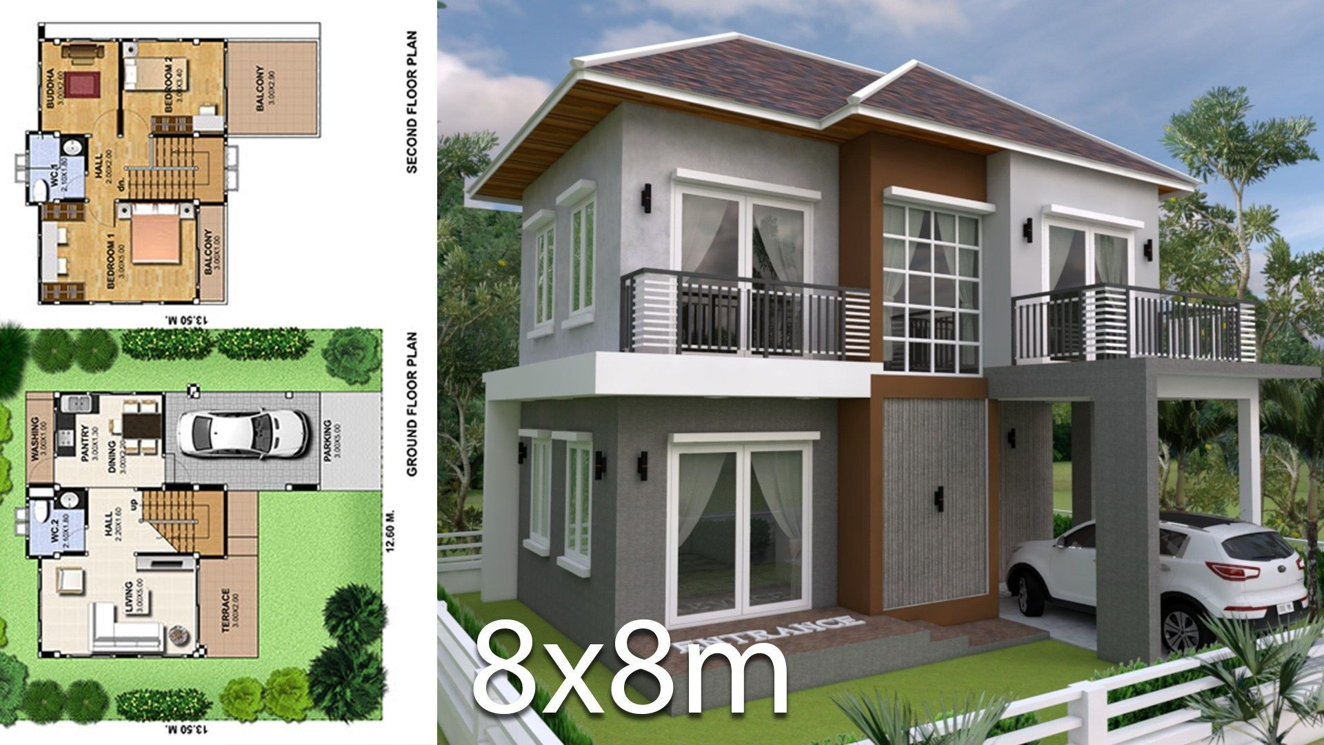 3 Bedrooms Home Plan 8x8m   House plans, House with ...