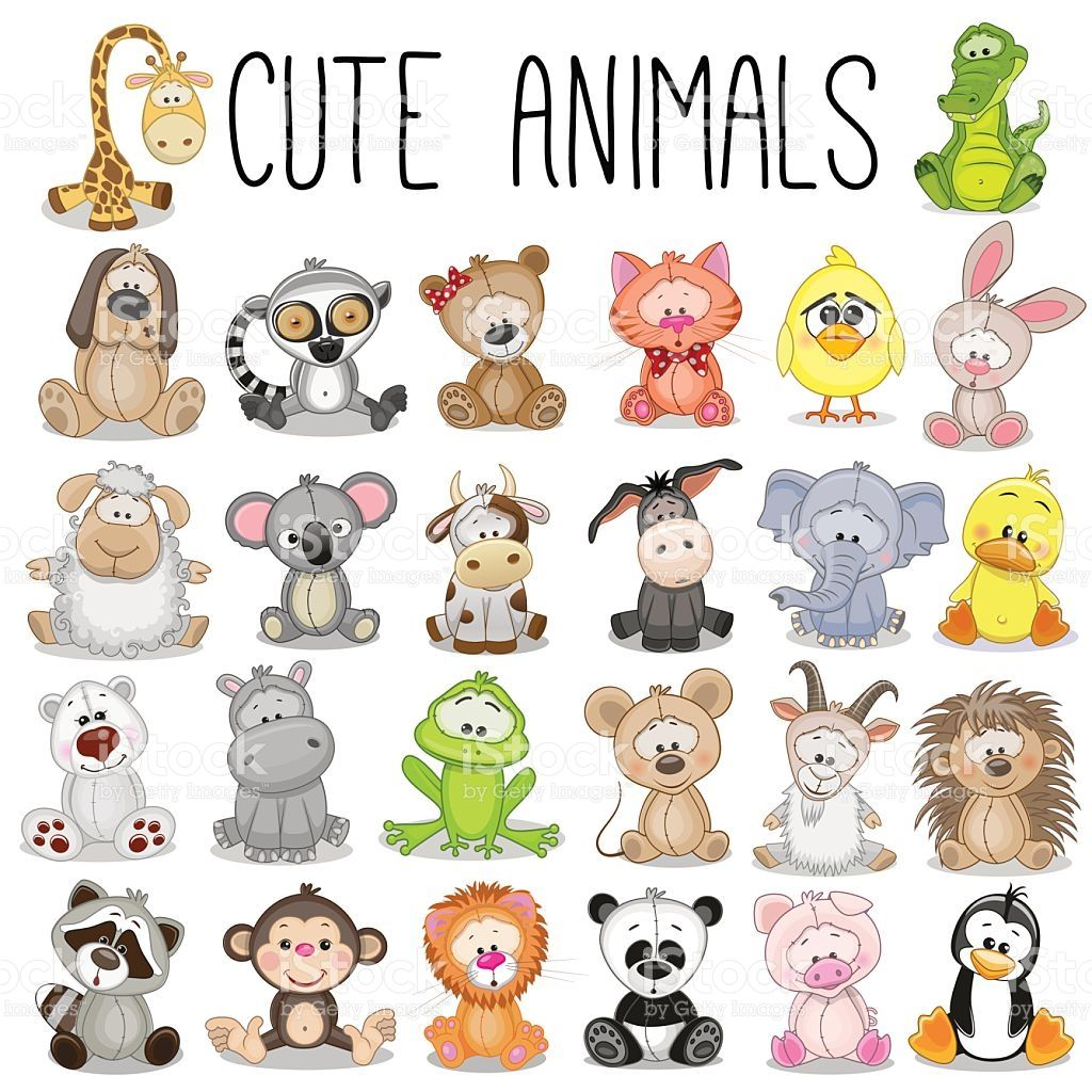 set of cute animals vector id507108822 1 024 1 024 p xeles cumple rh pinterest co uk cute animal clipart black and white cute animal clipart black and white