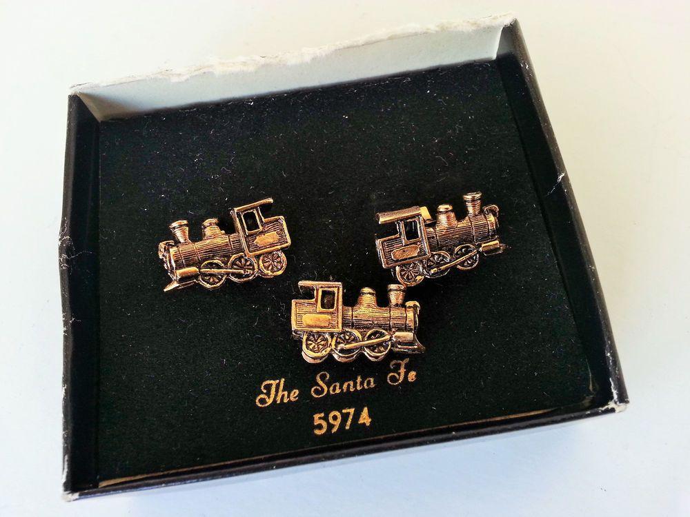 604bfb67d4ab Vintage Santa Fe Train Cufflinks & Tie Tack Gold Tone Locomotive Sarah  Coventry #SarahCoventry