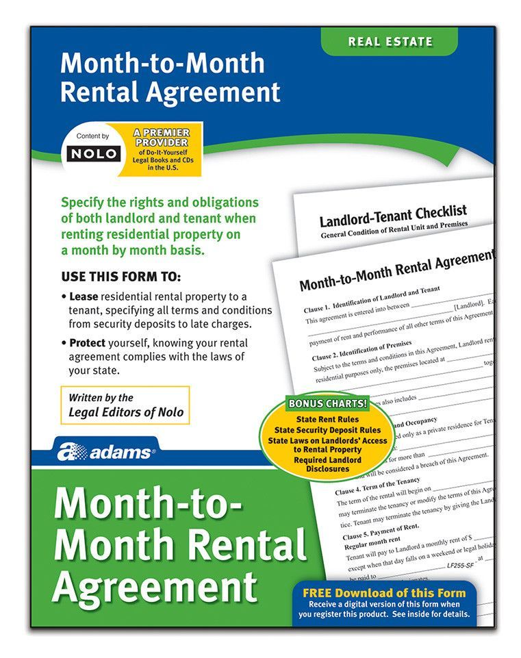 Month-To-Month Rental Agreement Forms and Instruction (Set of 6