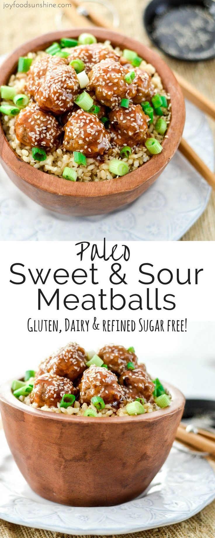 Paleo Sweet and Sour Meatballs! The perfect quick & easy weeknight recipe that everyone in your family will love! Gluten-free, dairy-free, and refined sugar free! #dinnerrecipesforfamilymaindishes