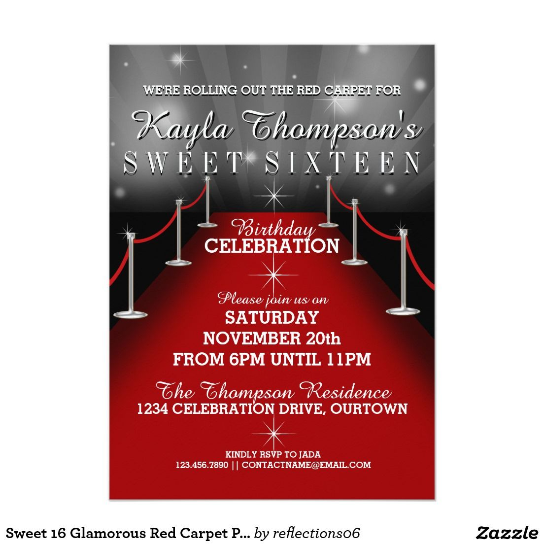 Sweet 16 Glamorous Red Carpet Party Invitations | Pinterest | Sweet ...