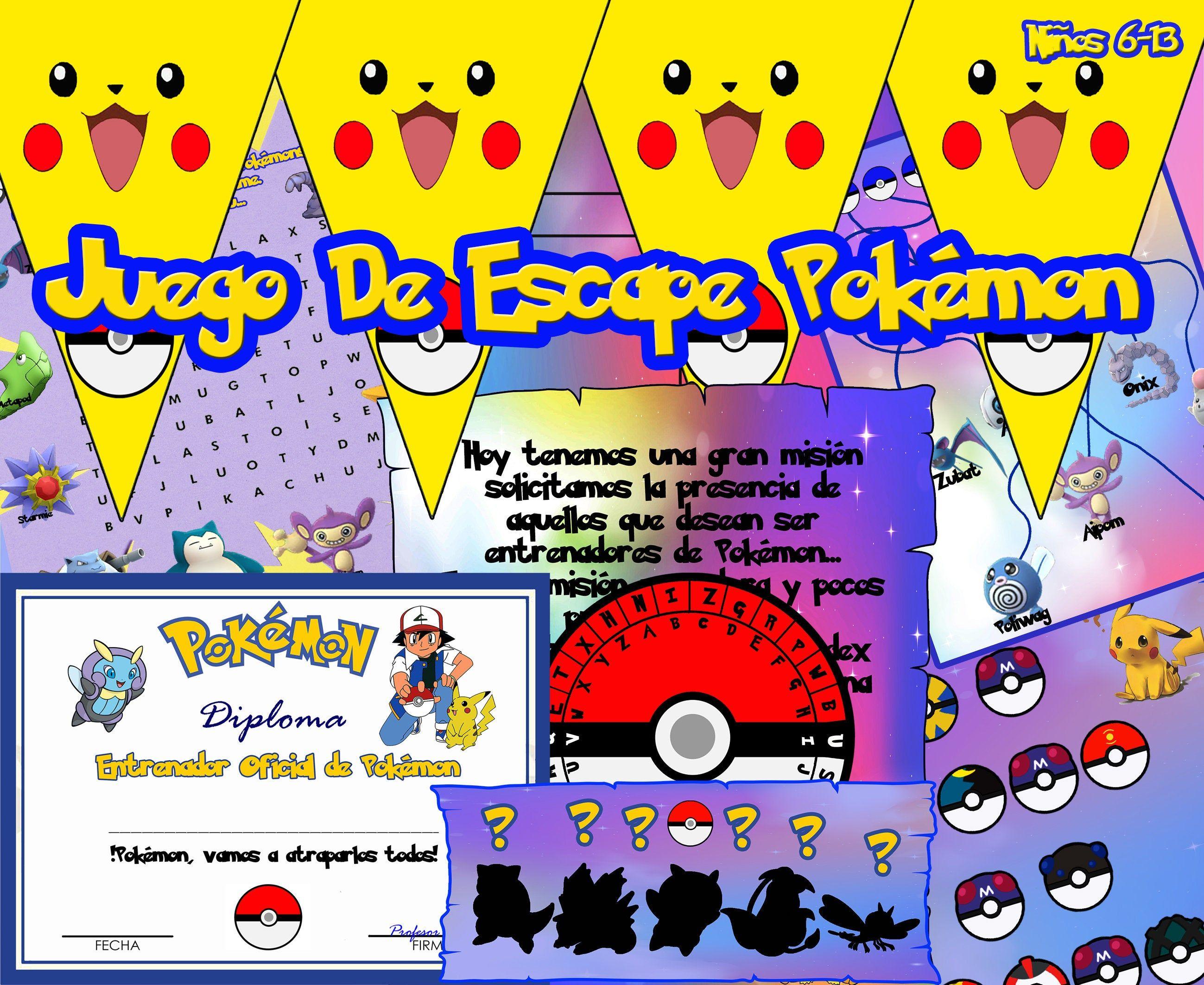 Kit Juego De Escape Para Niños Pokemon Go Pikachu Casa Fiesta Cumpleaños Juegos Escape Room Español En Juegos De Escape Juegos De Pokemon Juegos Para Niños