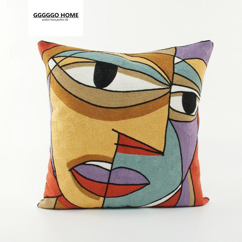 Cushion Cover 100/% Cotton Embroidered Pablo Picasso Sofa Decor Throw Pillow Case