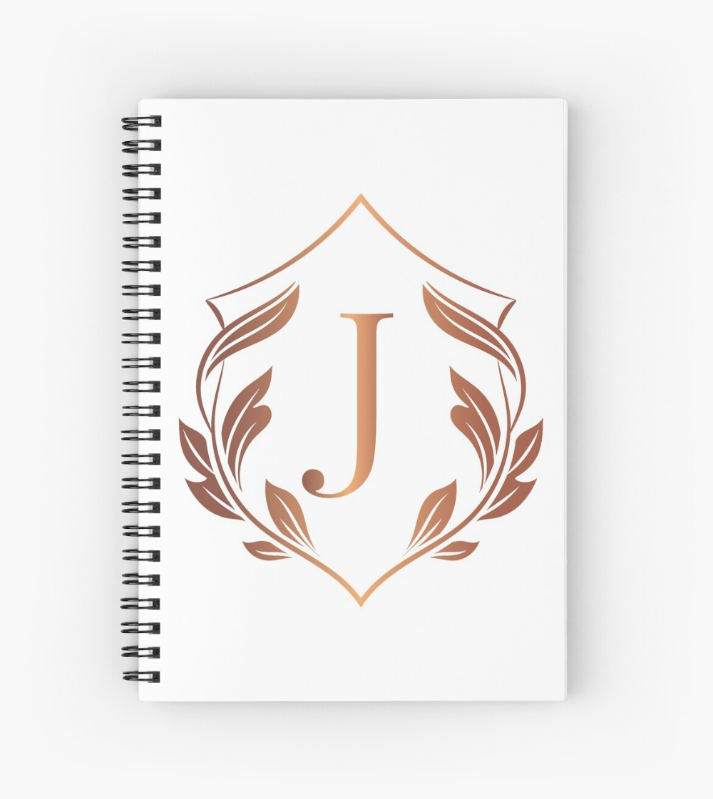 Laurel Shield. Monogram Initial Letter J. Personalized design.Rose gold and white luxury frame. Collection # 1. • Millions of unique designs by independent artists. Find your thing. #notebook #journal #school #planner #scetchbook #notes #stationary #diary #gift #travel #bulletjournal #write #luxury