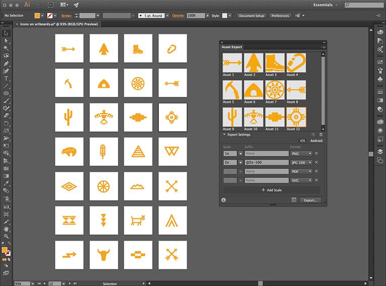 Asset Export In Illustrator Cc Creative Cloud Illustration Illustrator Cs5