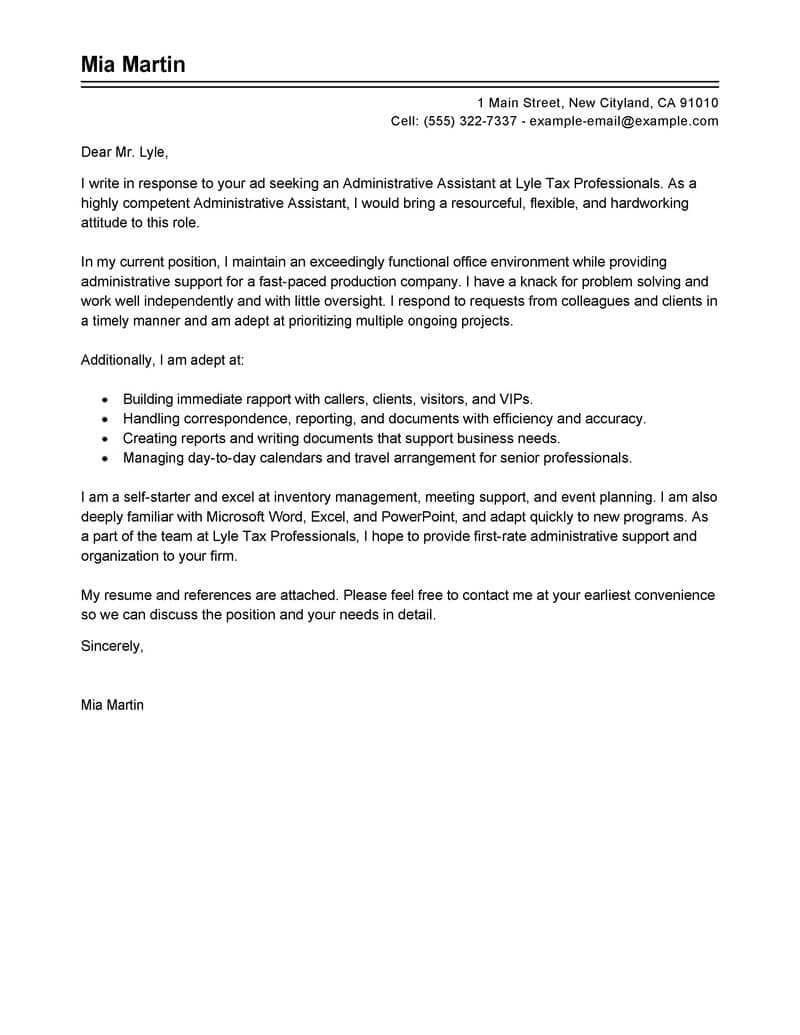 25 Sample Cover Letter For Administrative Assistant Sample