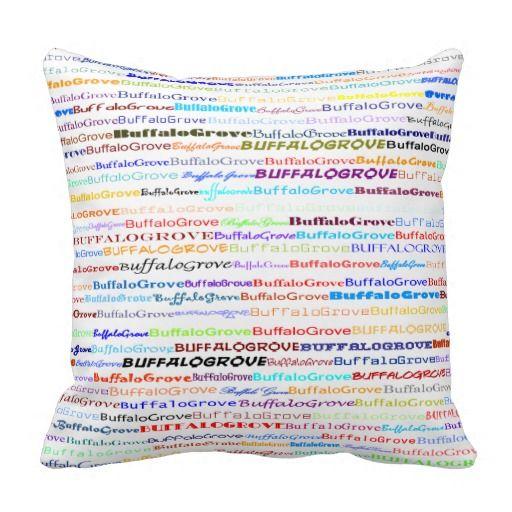 Buffalo Grove Text Design II Throw Pillow