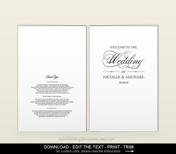 Elegant Wedding Program TemplateDIY Printable Editable Wedding - Editable wedding program templates