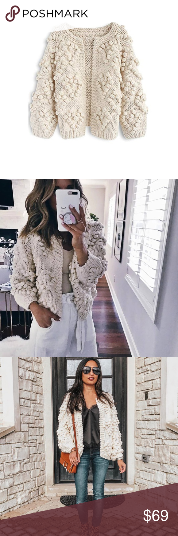 Heart Shaped Pom Cardigan Sweaters For Women Fashion Clothes Design
