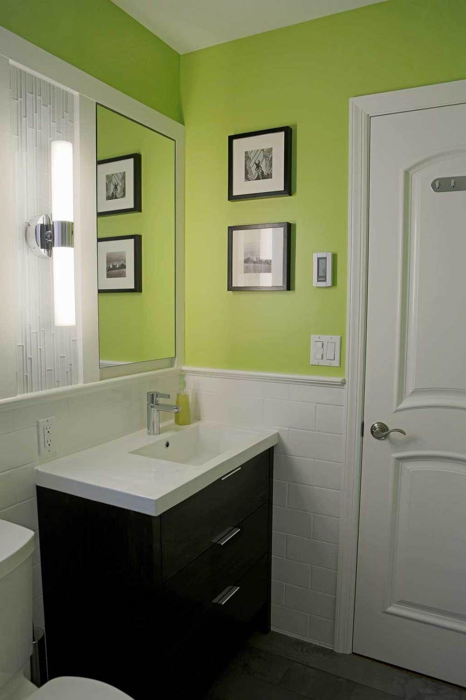 Off-centered integral ceramic sink with custom-made vanity. Custom ...