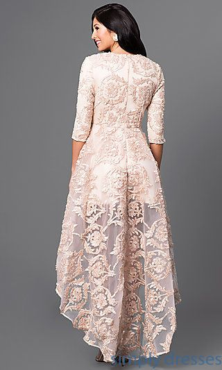 High Low Lace Dress With 3 4 Length Sleeves In 2019 Things To Wear