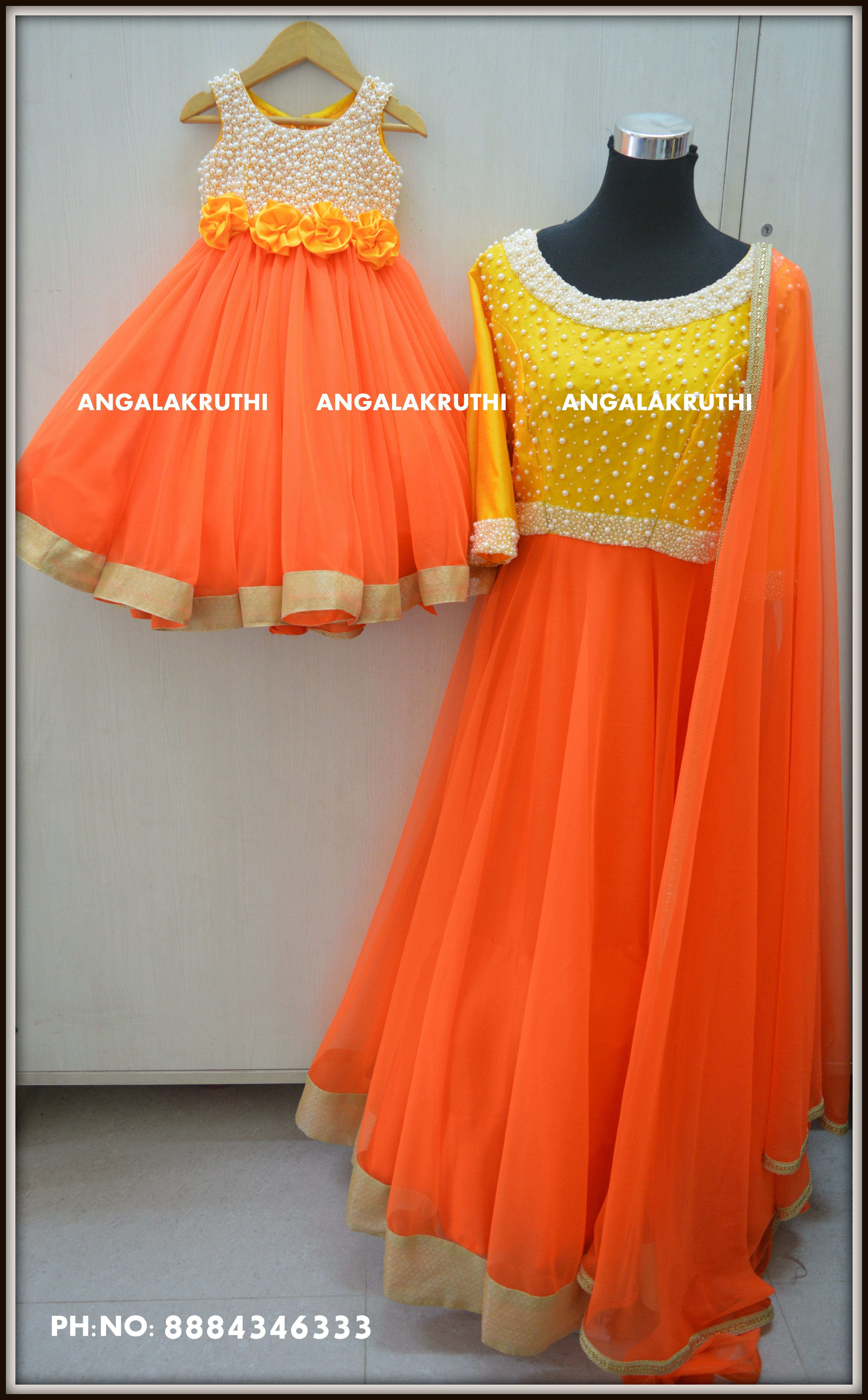 a17a0c3286 Mom and Daughter dress designs with pearl hand embroidery by Angalakruthi-Ladies  and kids custom designer boutique in Banswadi Bangalore #Mom and Me designs  ...