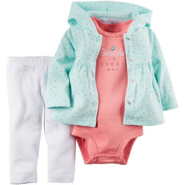 3-Piece Hooded Cardigan Set (€13) ❤ liked on Polyvore featuring baby girl
