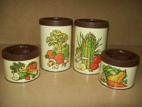 Vintage Metal Canister Set Of 4 Vegetables Kitchen 70 S Metal Canisters Vintage Canister Sets Vintage Metal