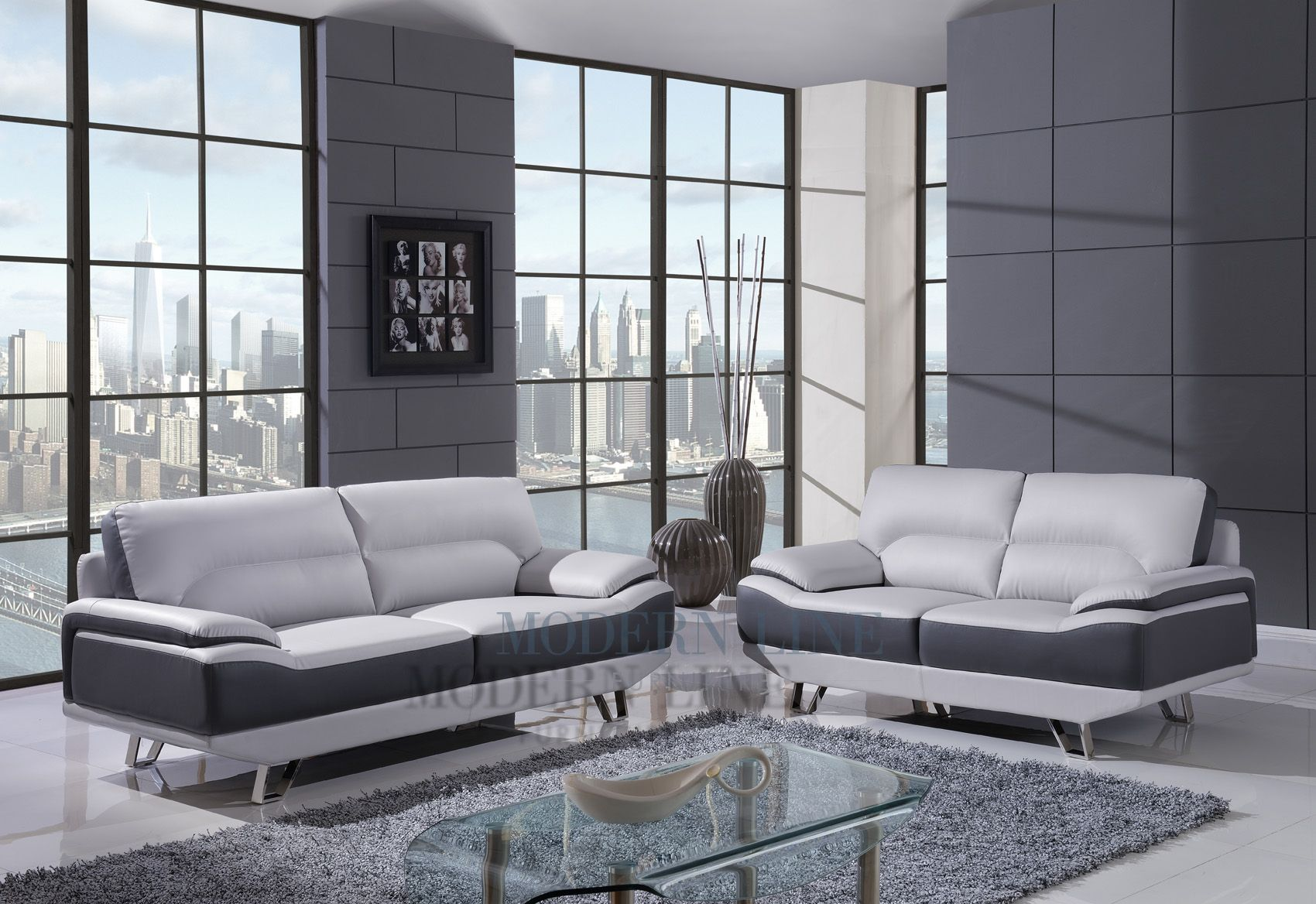 Modern Dual Tone Light Grey & Dark Grey Leather Living Room Set