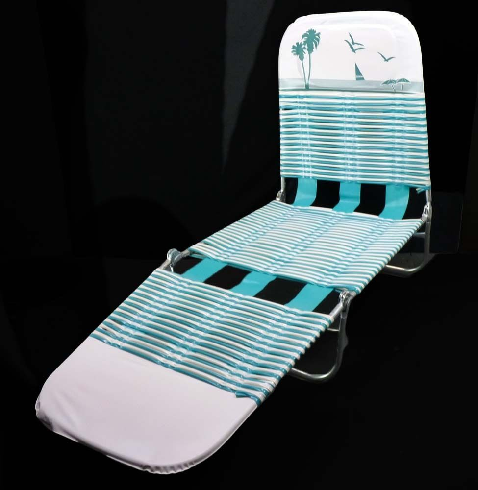Vintage Chaise Lounge Folding Beach Chair Blue White Vinyl