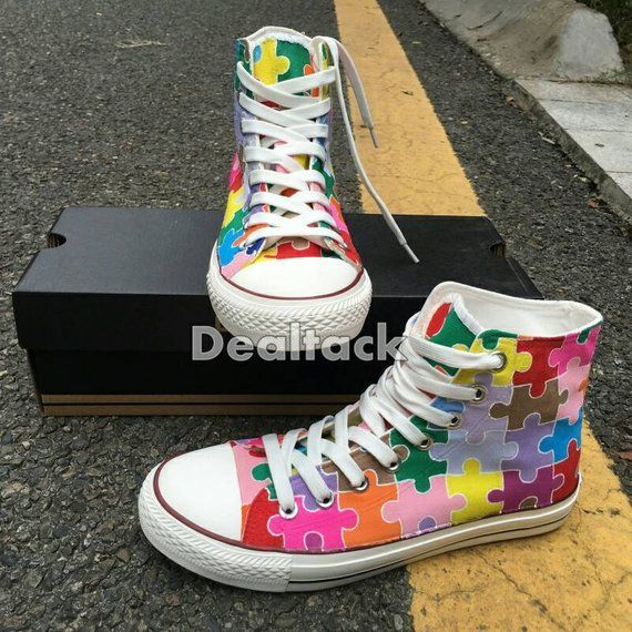 7b79c58ace65 Custom Painted Autism Awareness Puzzle Pieces Converse