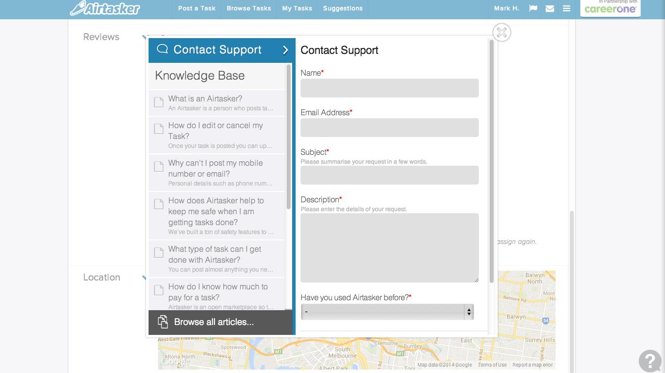 Airtasker com - Fully mobile responsive custom Zendesk