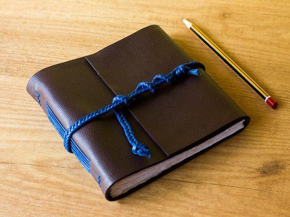 Square reddish-brown faux leather journal, handmade notebook, travel journal, vegan diary, small notebook, handbook, Christmas gift idea