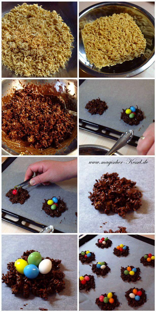 Leckere Schokoladennester - schnell zu machende und essbare Osterdeko.