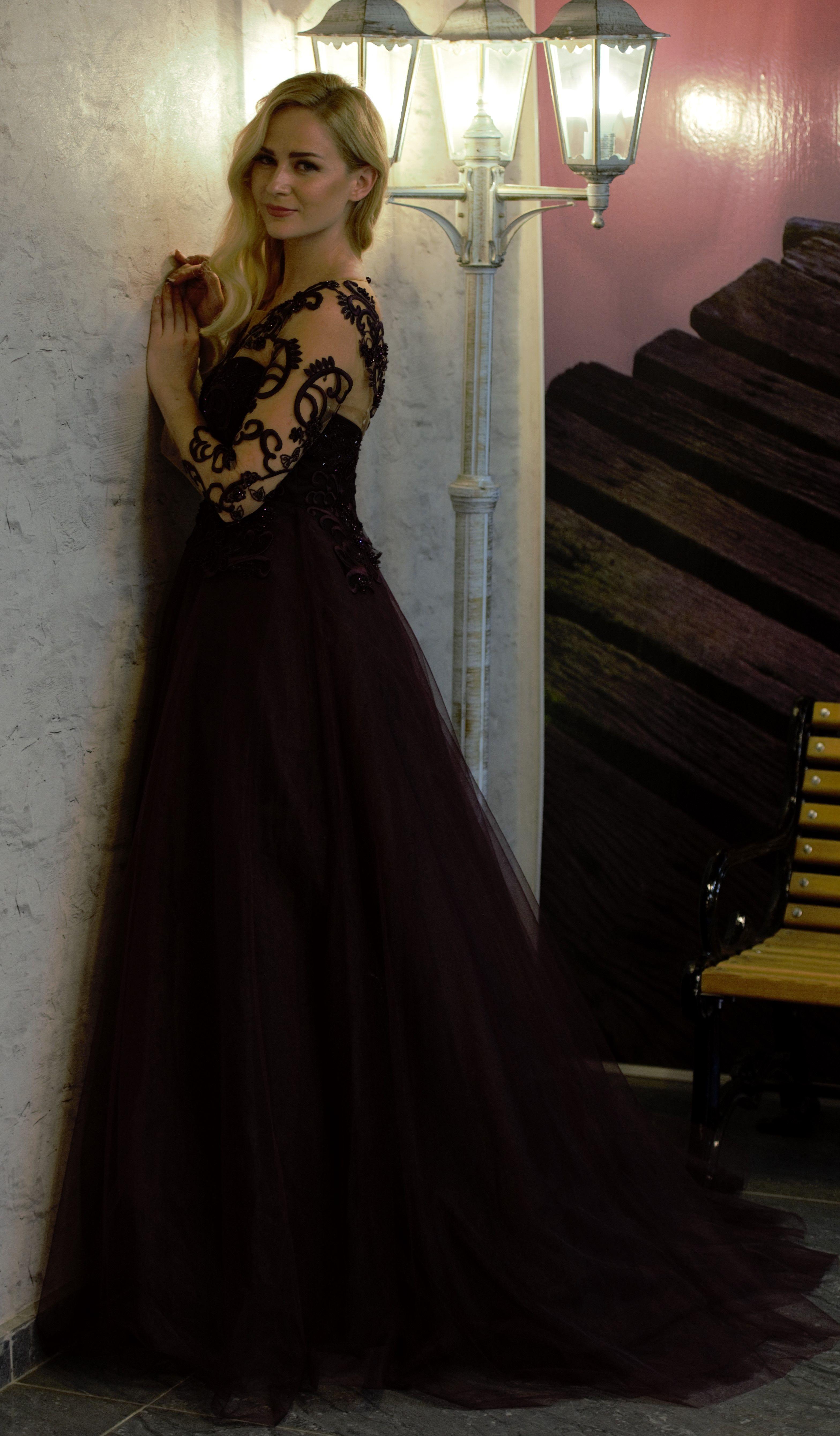 long black lace gown for prom, black lace party dresses, black lace ...