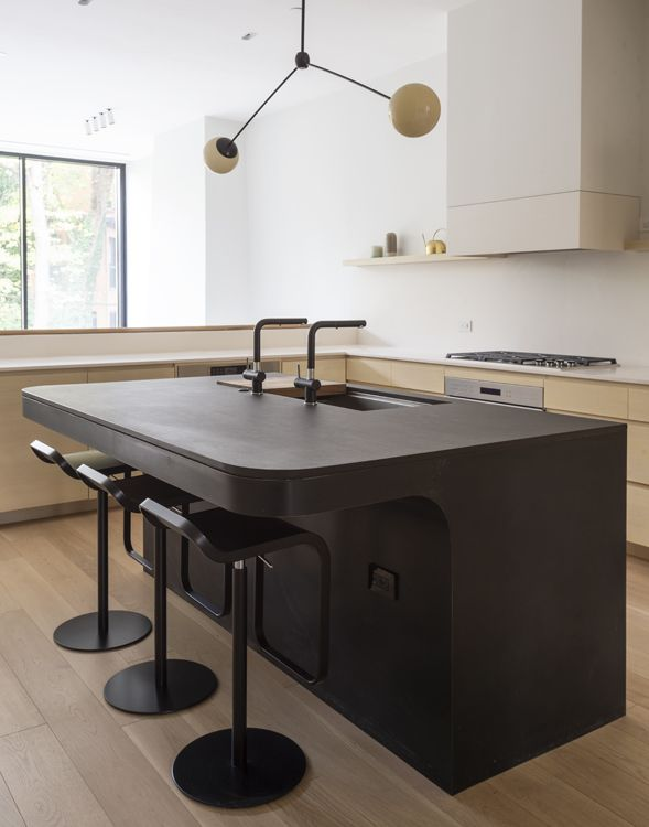modern kitchen  black counter stools  low back counter